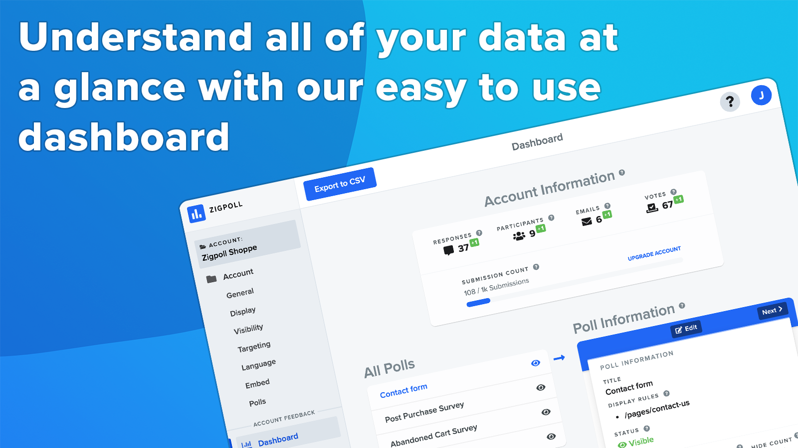 Understand all of your data at a glance with our easy to use das