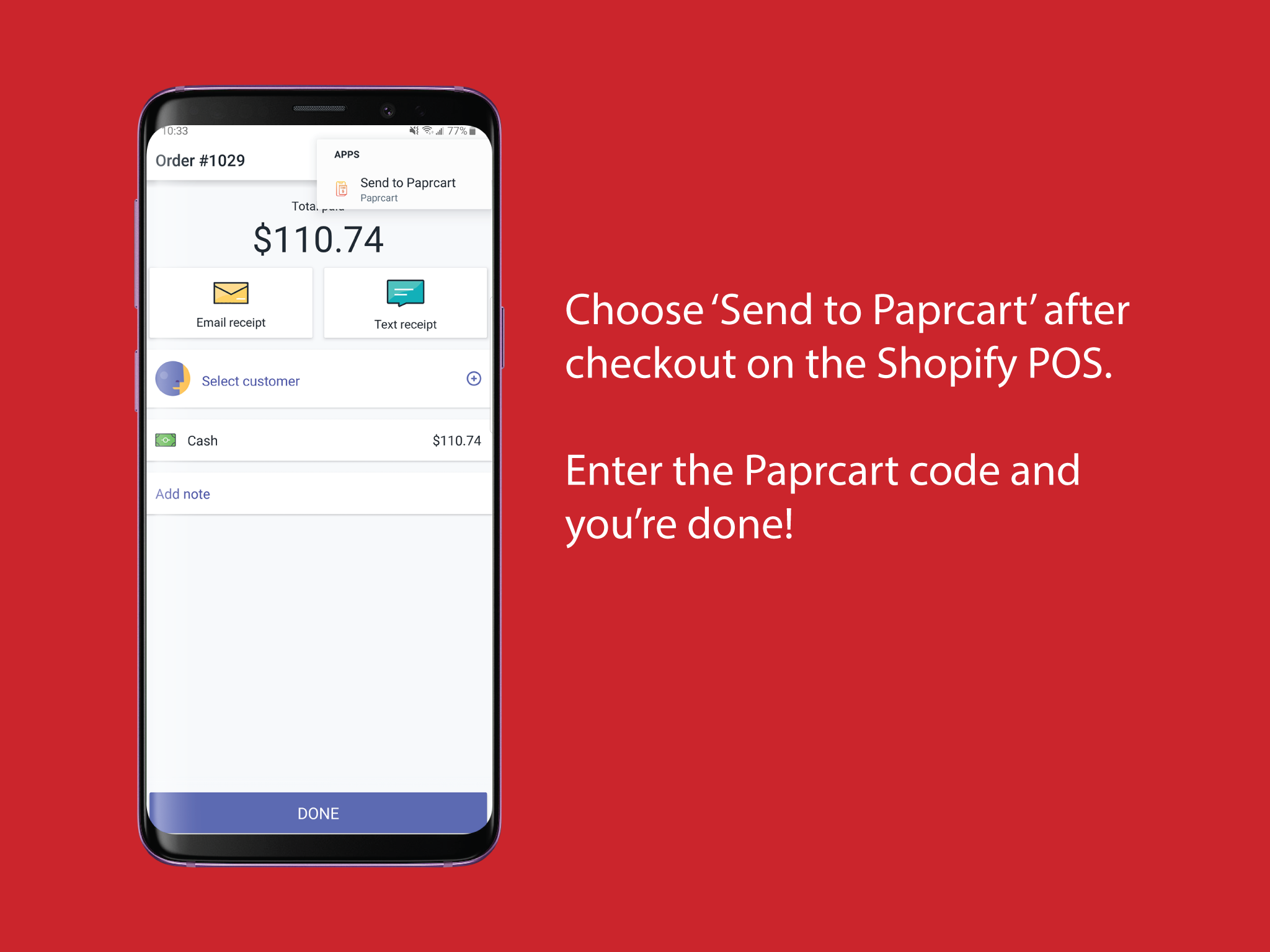 Send receipt to Paprcart from the Shopify POS