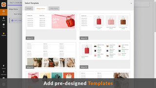 Templates for mega menu, tab menu, flyout menu, product menu