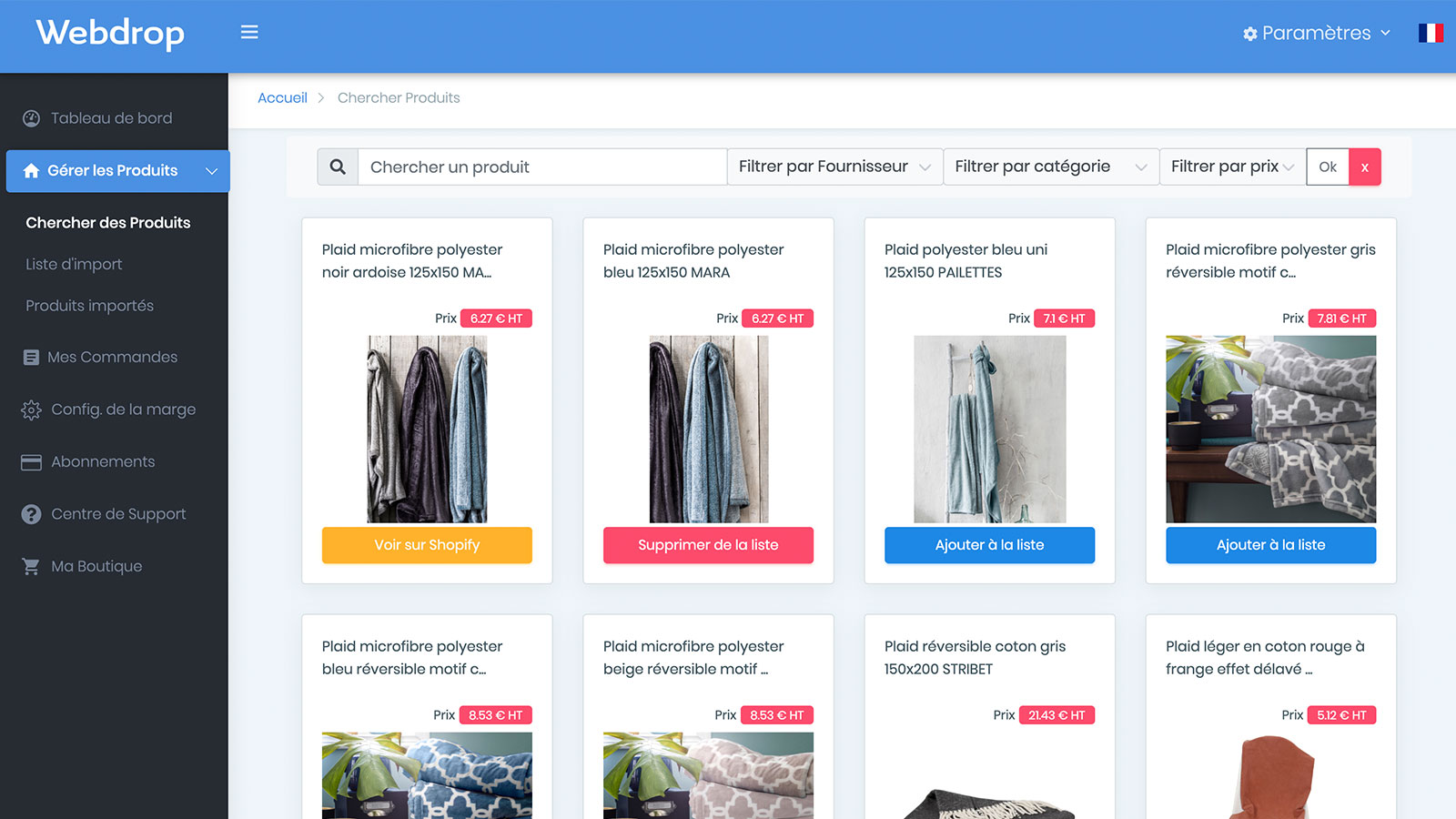 List of available products webdrop-market