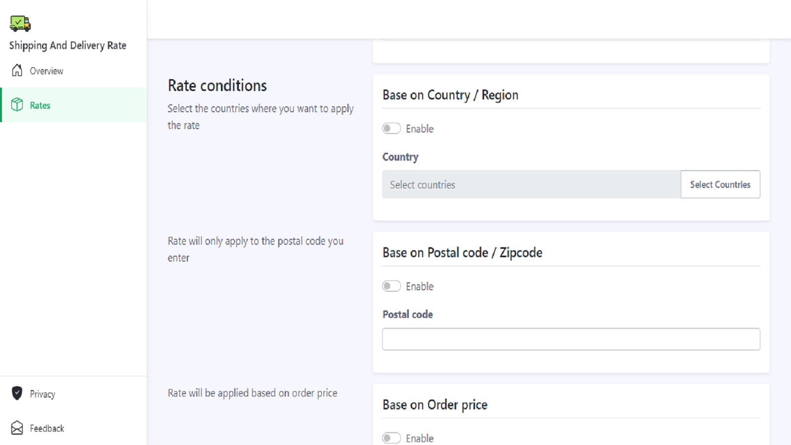 Set condition by country