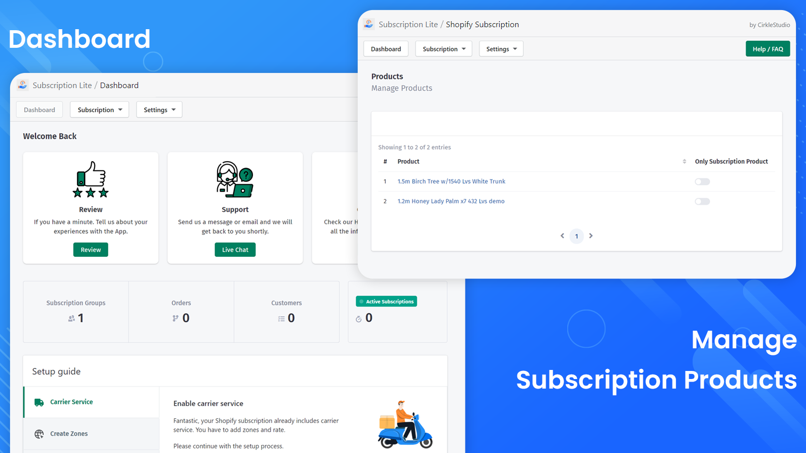 Dashboard and Products