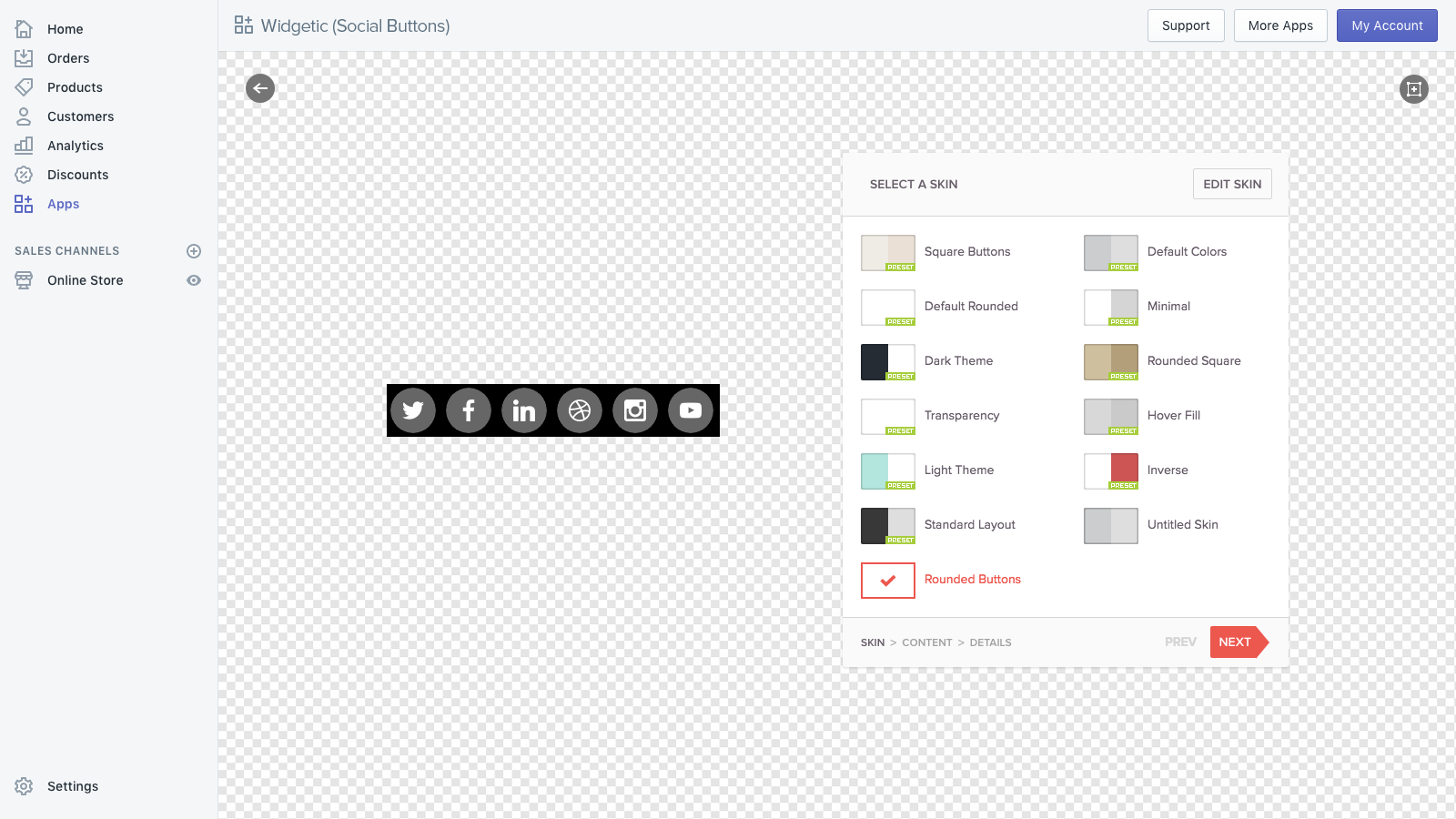 Dashboard with the Editor.