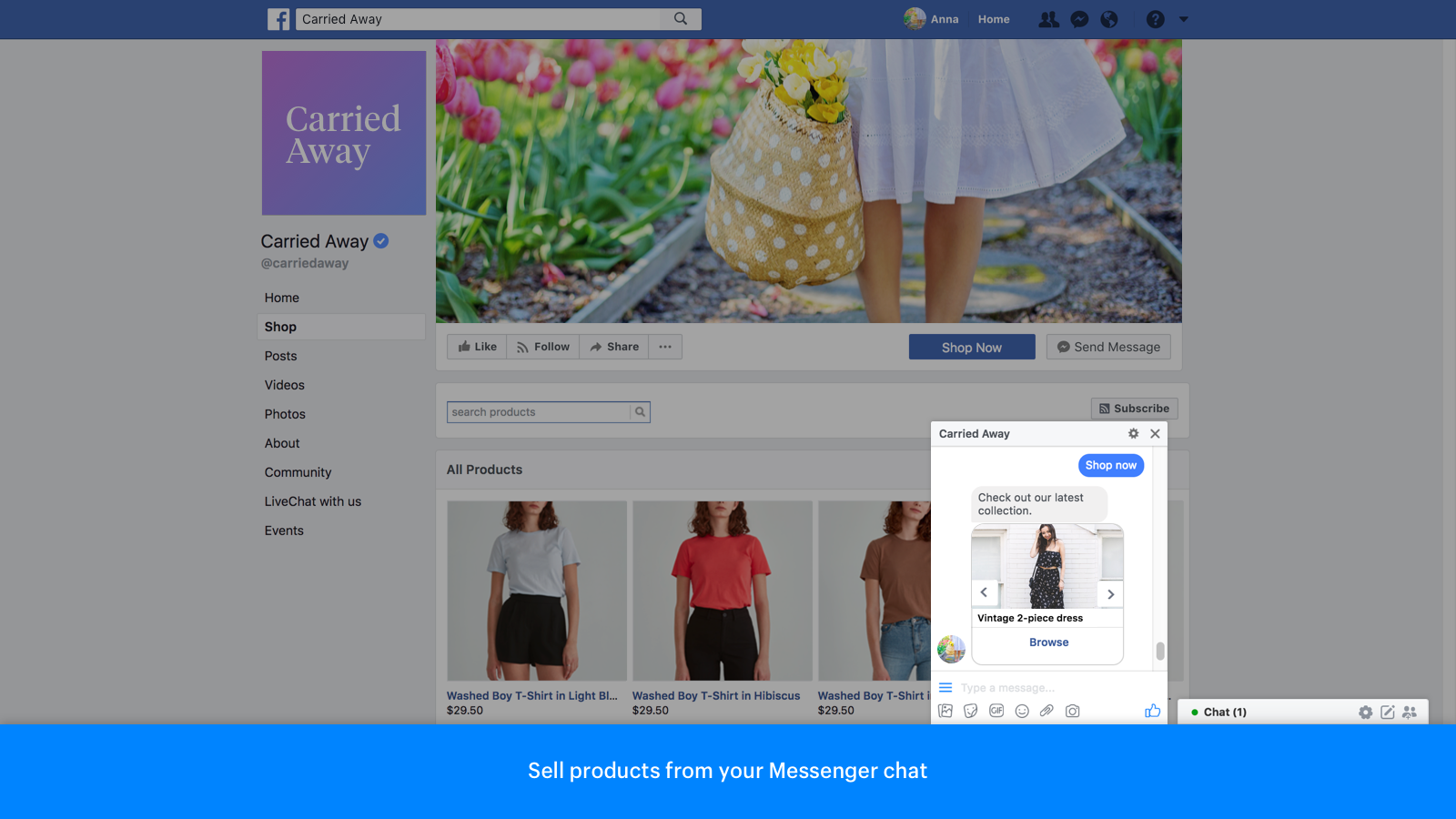 Sell products from your Messenger chat