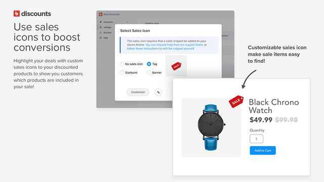 Use sale icons to boost conversions