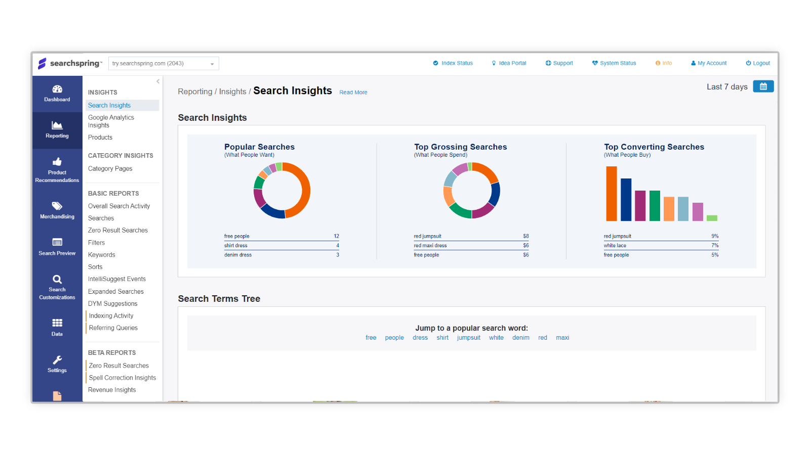 Searchspring reporting & insights