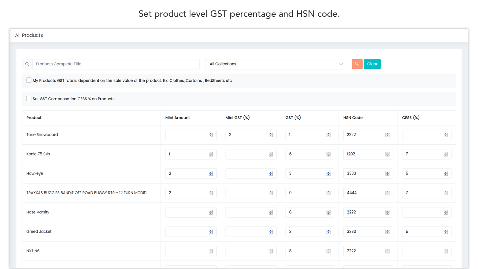 Product GST and HSN Code Setup