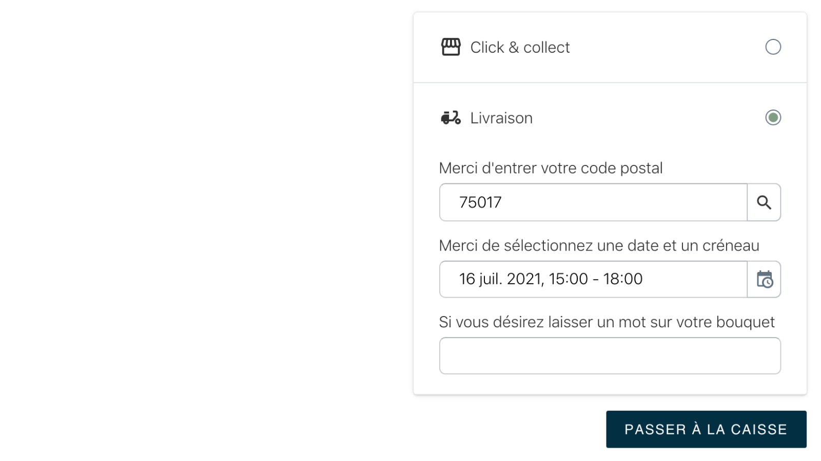 Widget local delivery details (french)