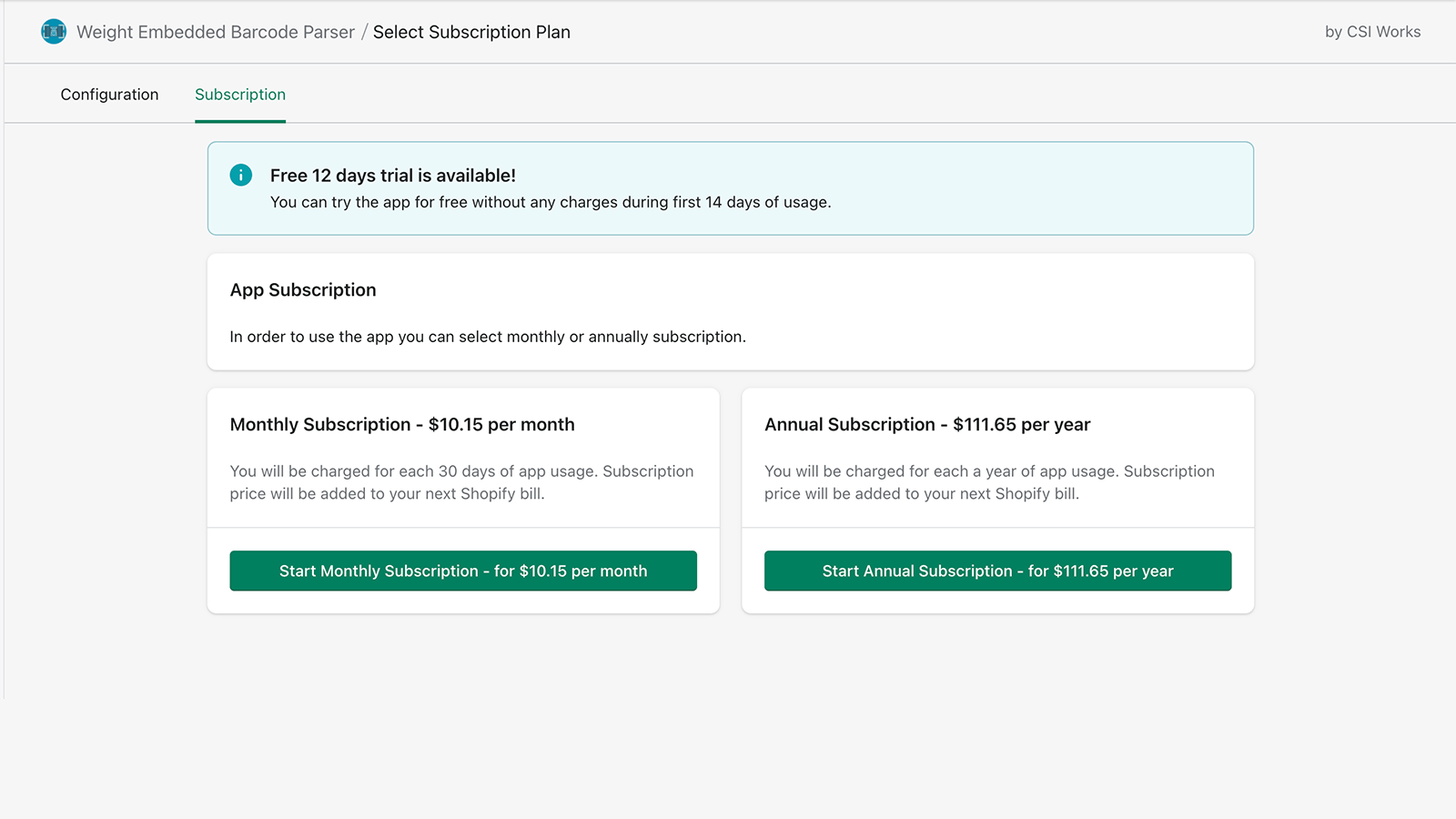 Weight Embedded Barcode Parser has 2 subscription options