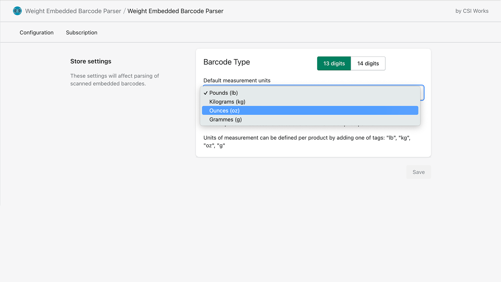 Weight Embedded Barcode Parser works with Many units of measure