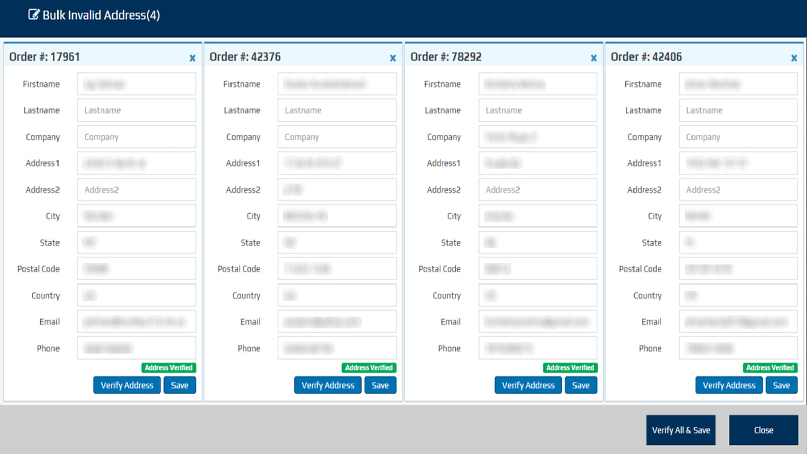 validate all your addresses in one page by one click
