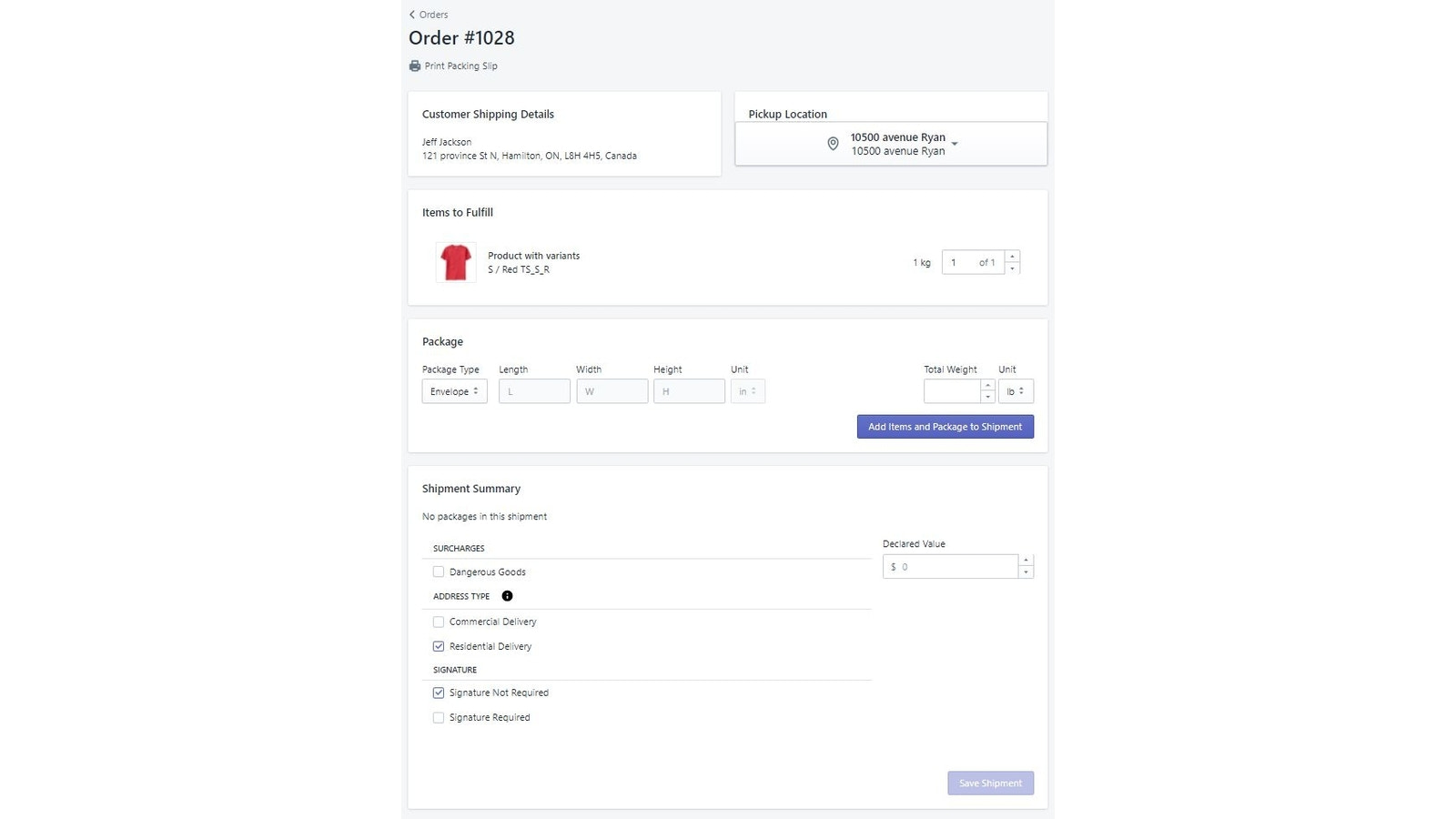 Fulfill order, add items to packages and create fulfillment