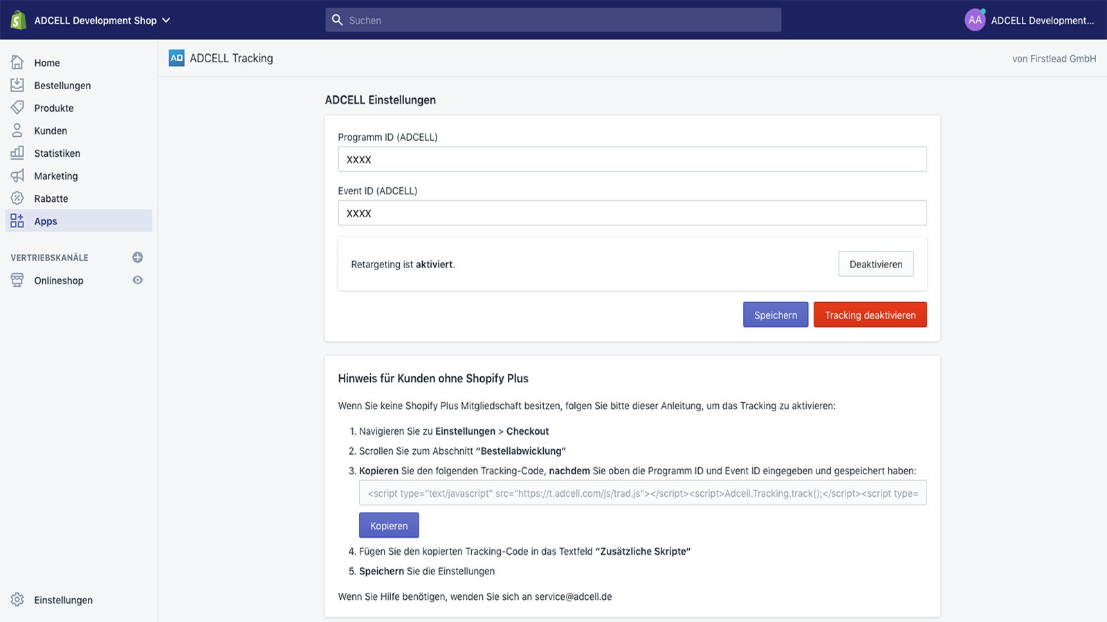 adcell shopify admin panel