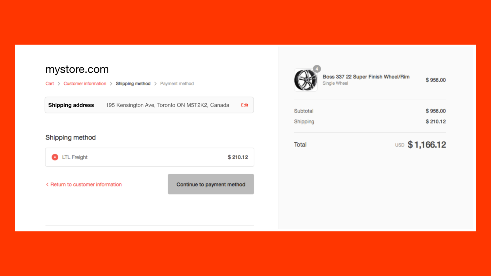 Shipping Methods page