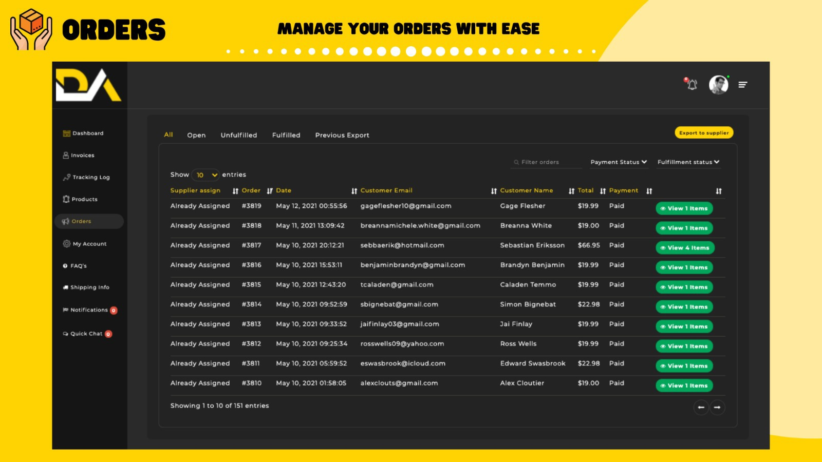 Manage Your Orders With Ease