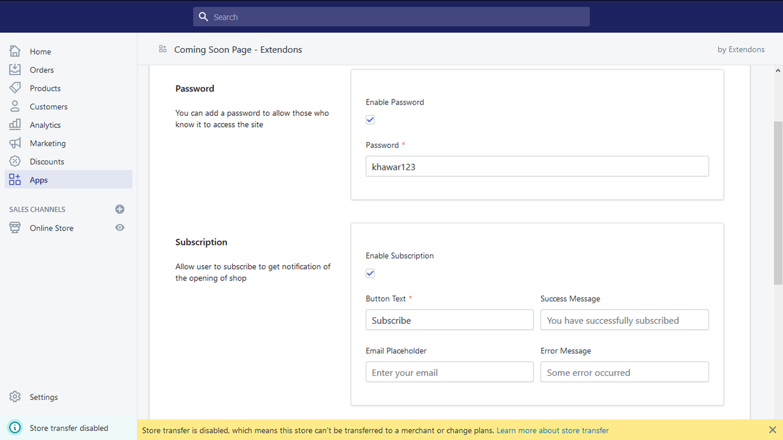 Enable Password & Subscription Field