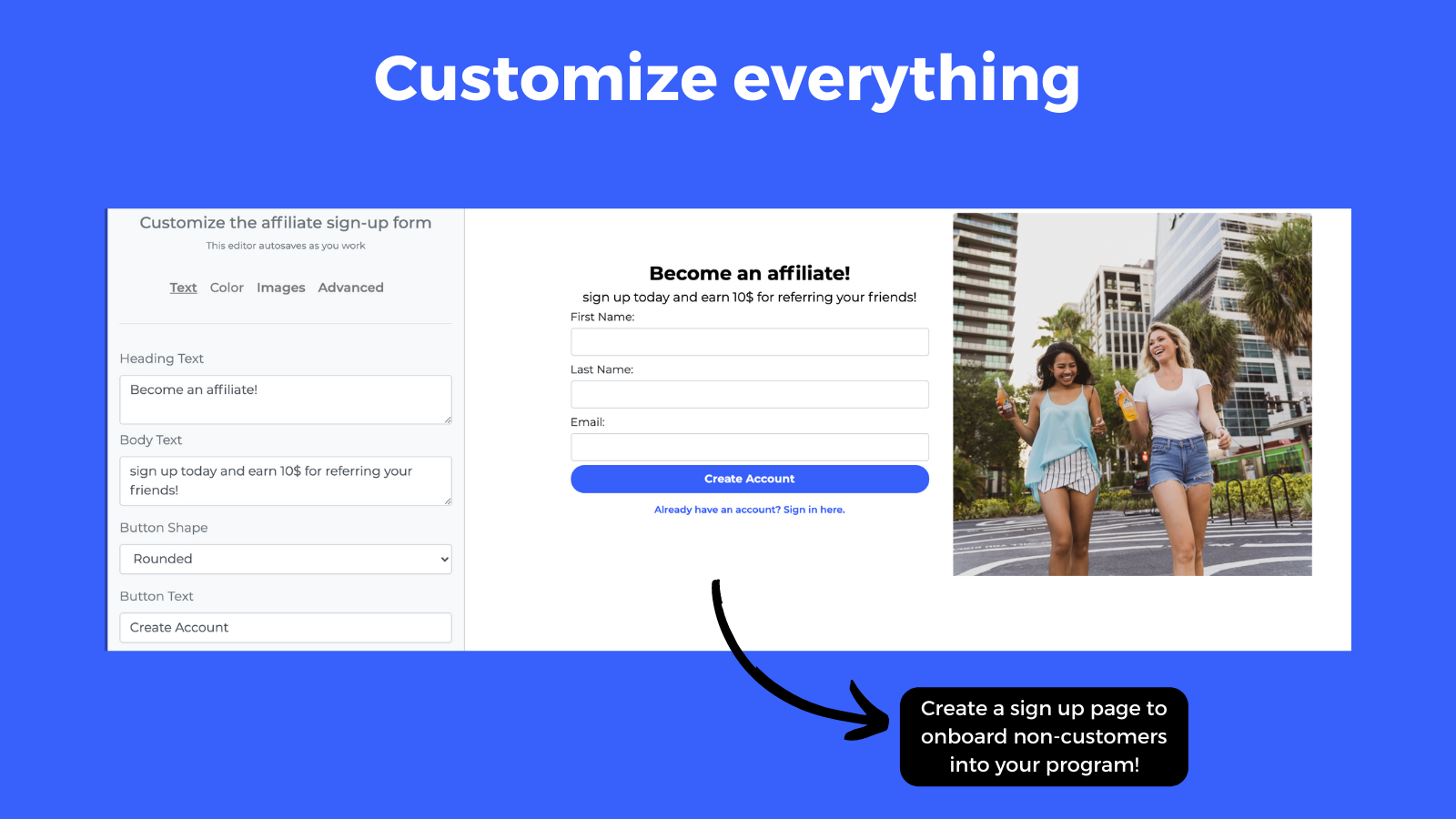 Customize the affiliate sign up form