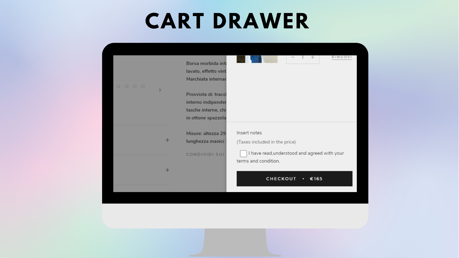 I agree to terms checkbox on the cart drawer - Tech Dignity