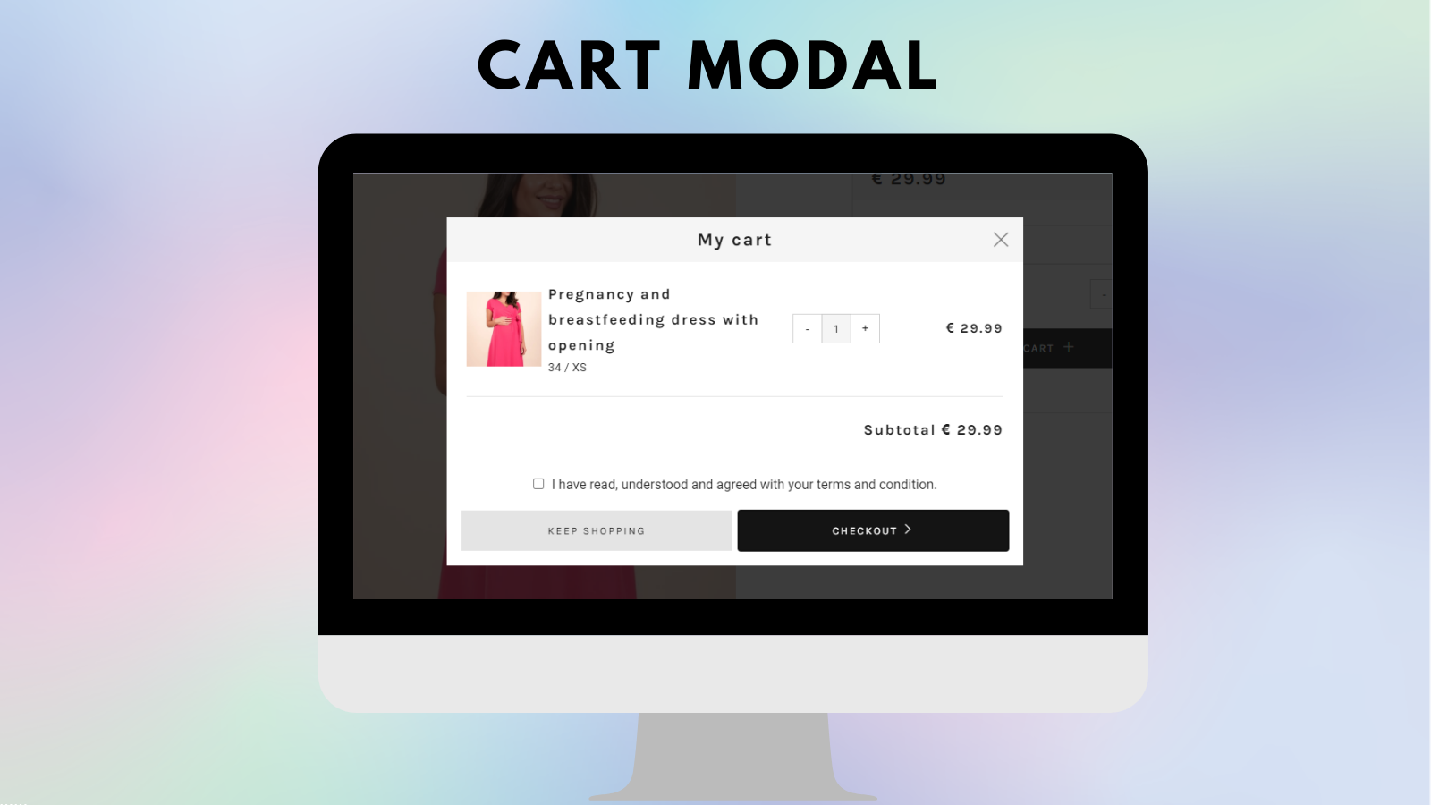 I agree to terms checkbox on the cart modal - Tech Dignity