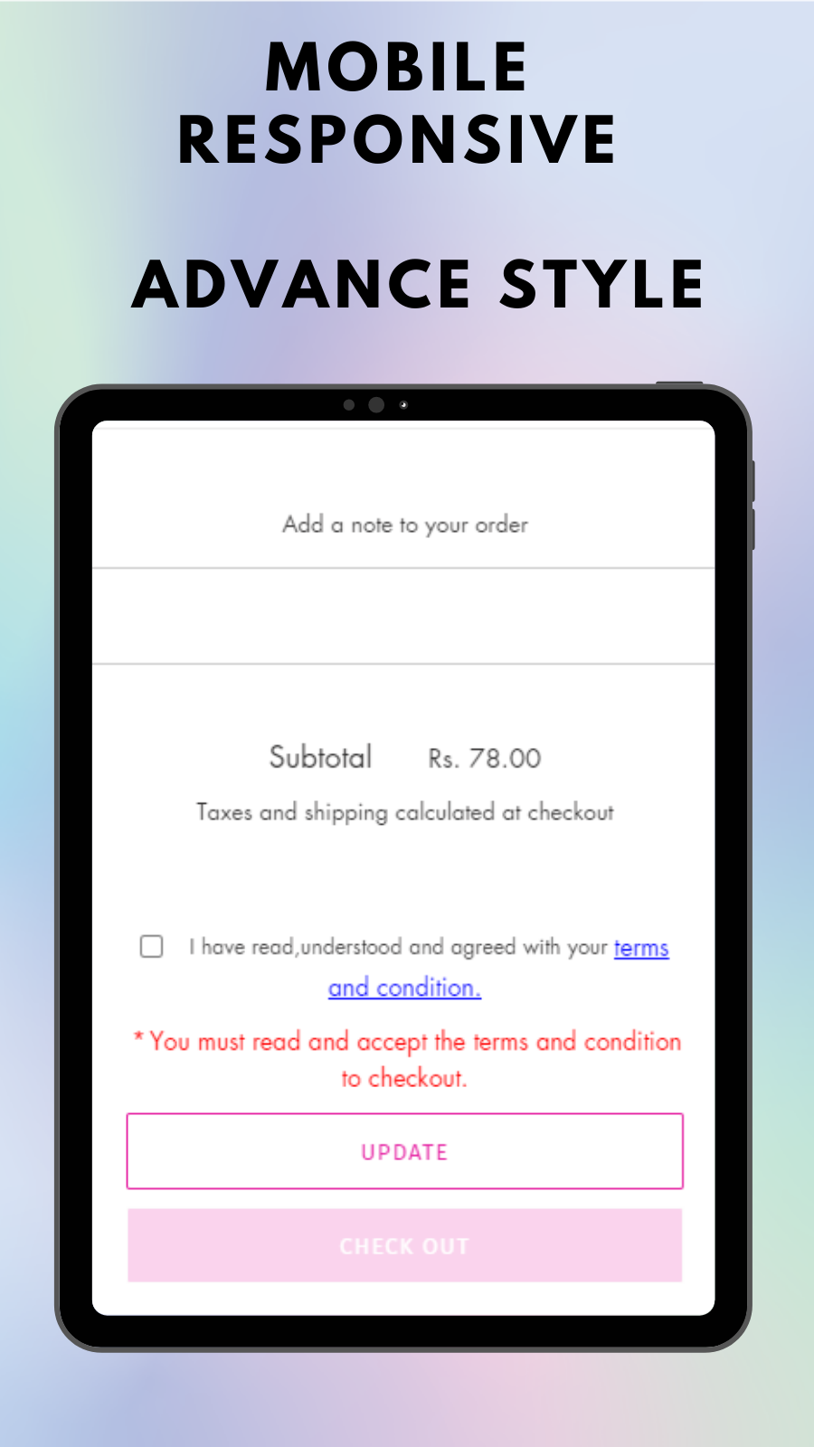Advance style of I agree to terms checkbox on mobile