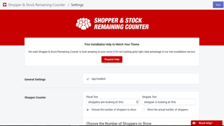 Urgency Shopper and stock remaining counter for Shopify