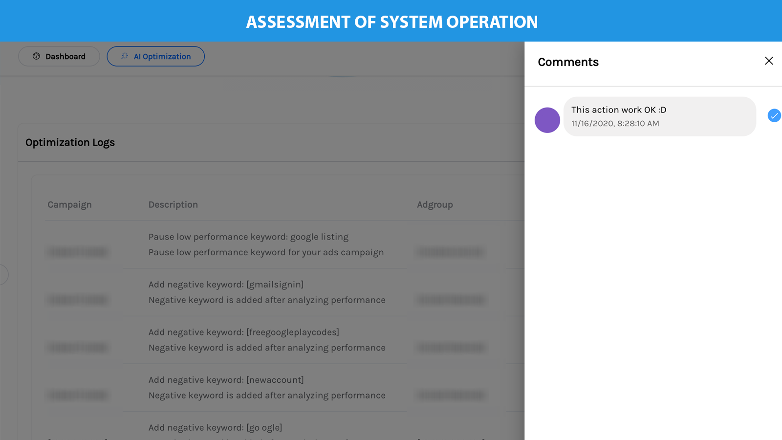 Performance evaluation of the system