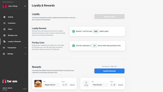 Set loyalty, rewards and publish redeemable products