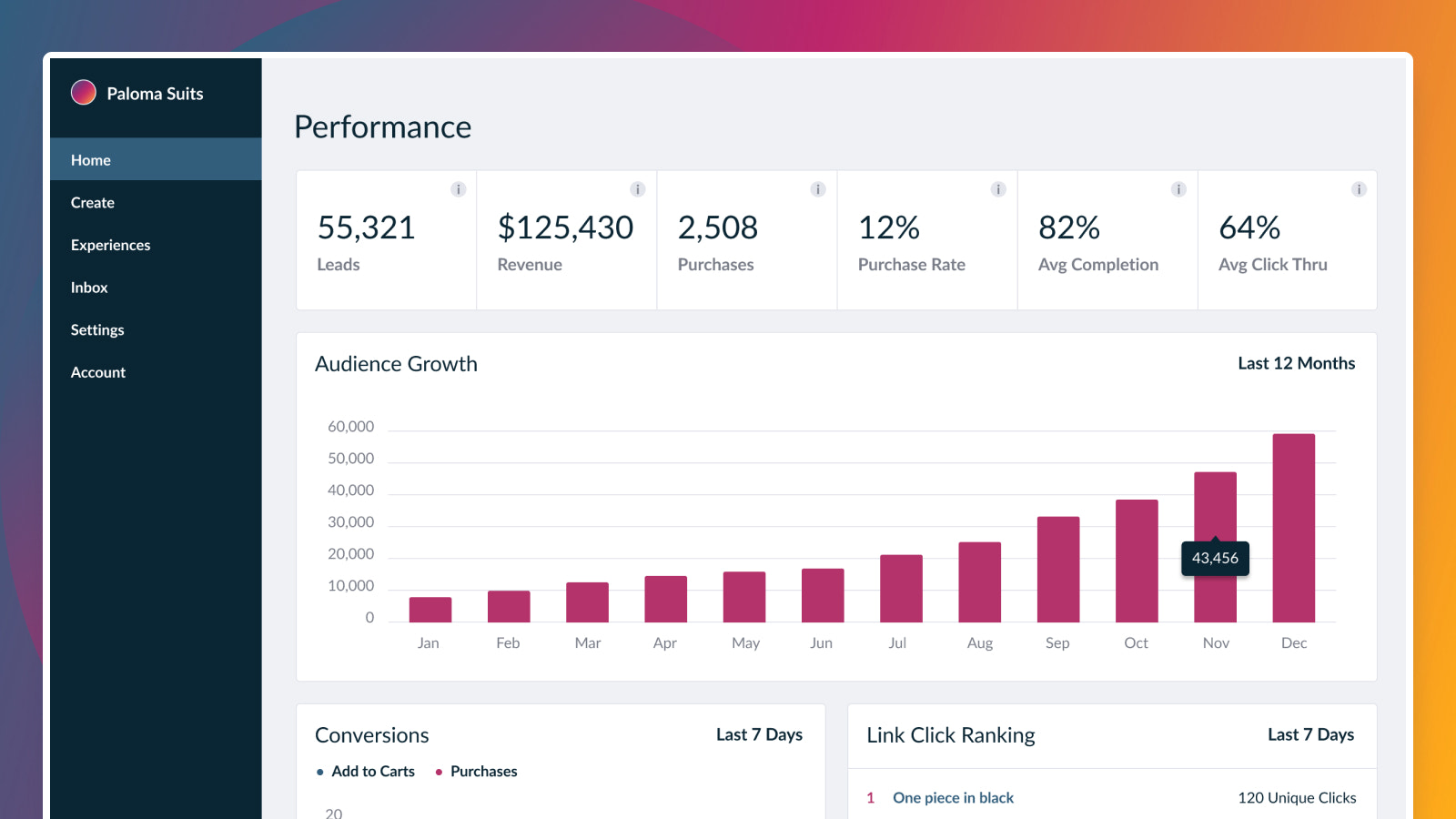The performance view: Leads, purchases, and revenue over time