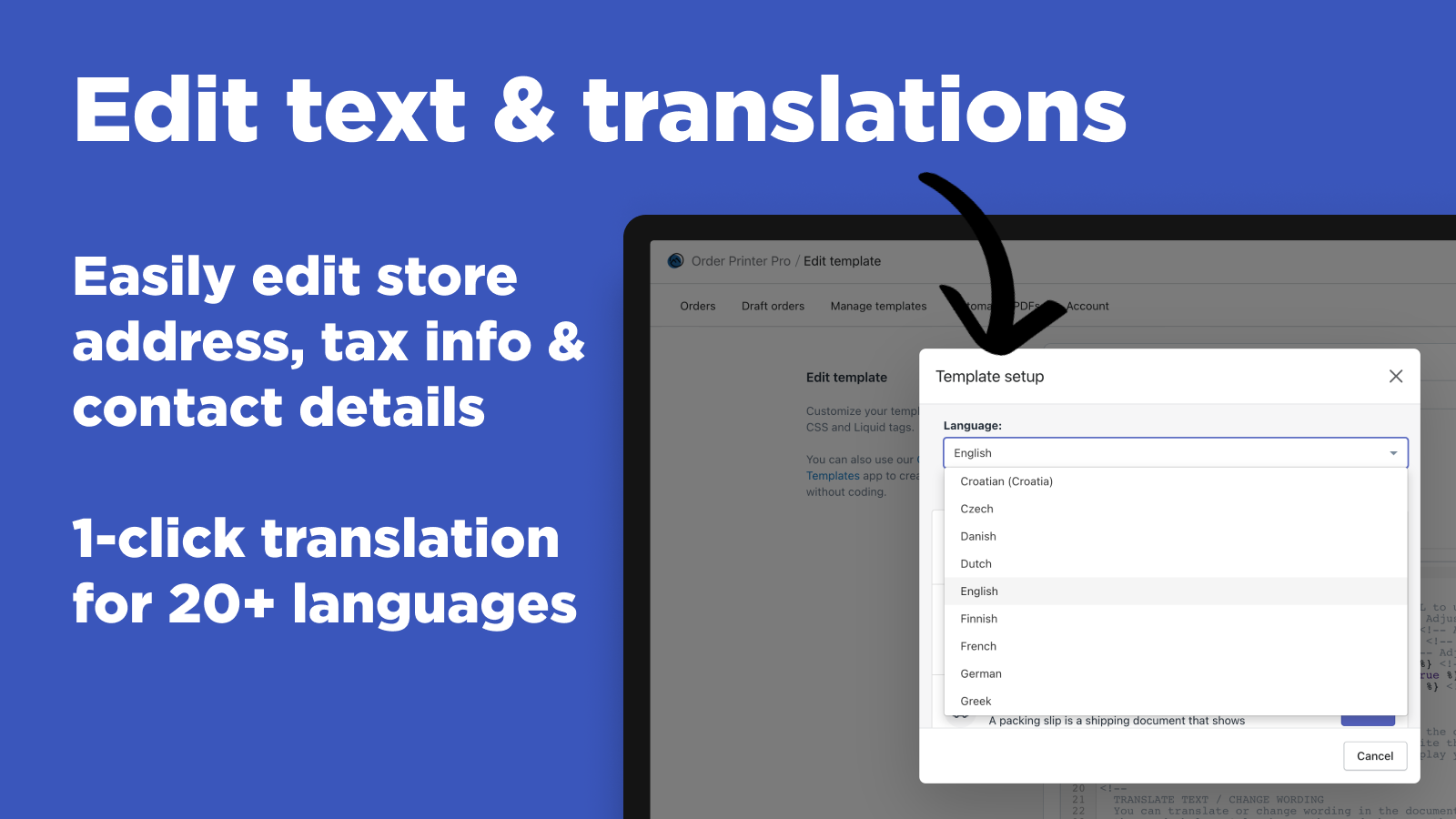 Shopify Order Printer - Edit text and translations