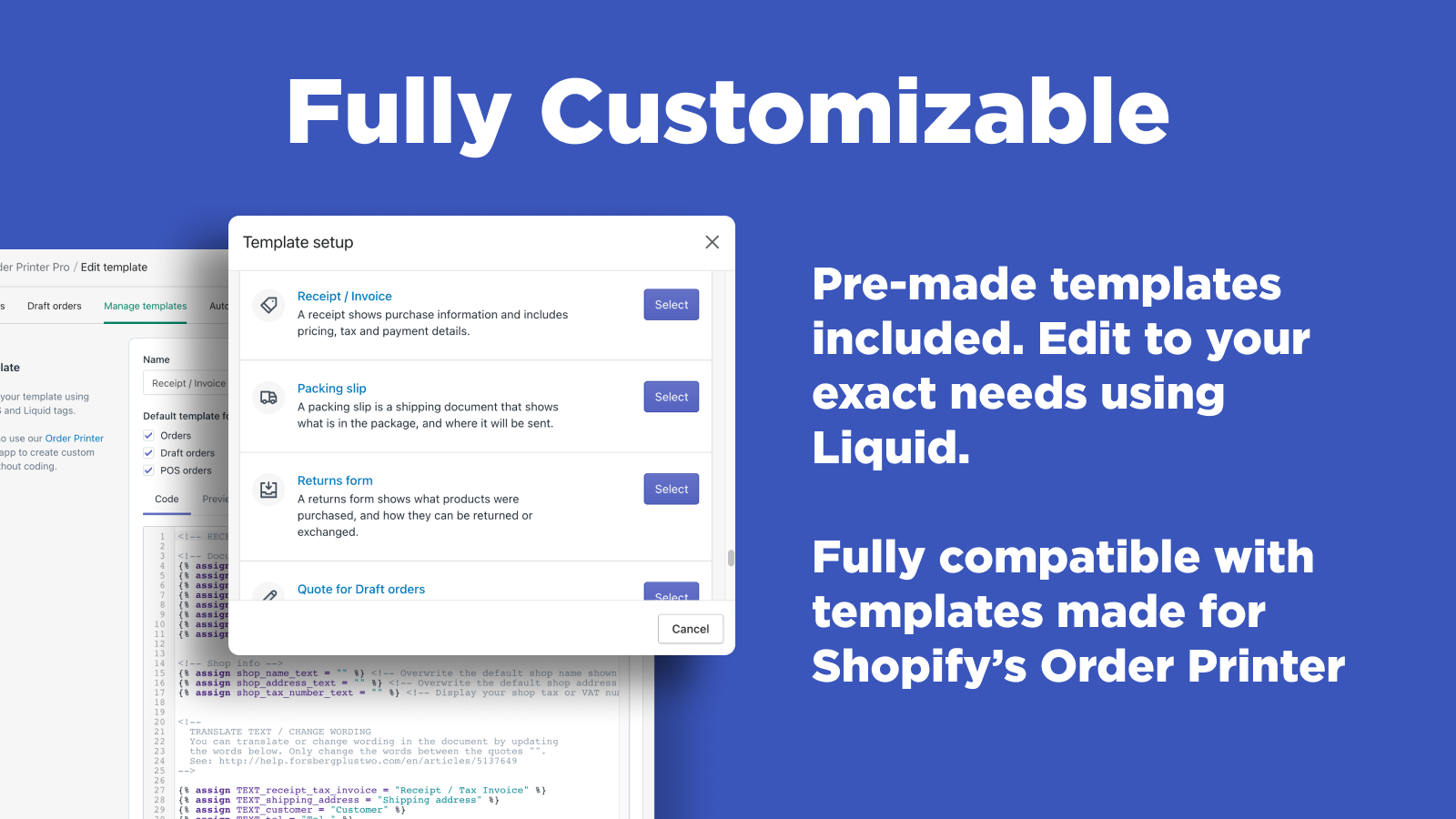 Shopify Order Printer - Fully customizable templates