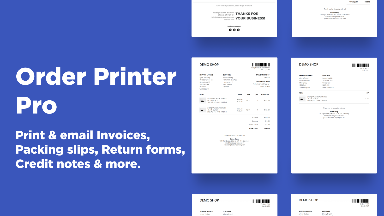 Shopify Order Printer - Print Invoices, Packing Slips & more