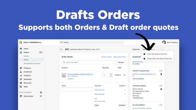 Shopify Order Printer - Draft order quote support