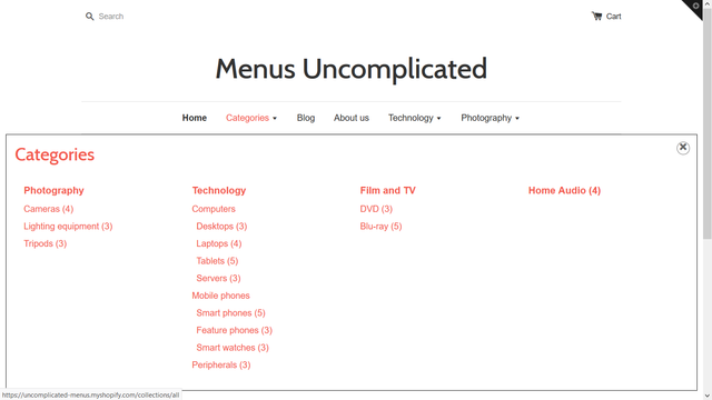Header menu with categories triggered on hover or click