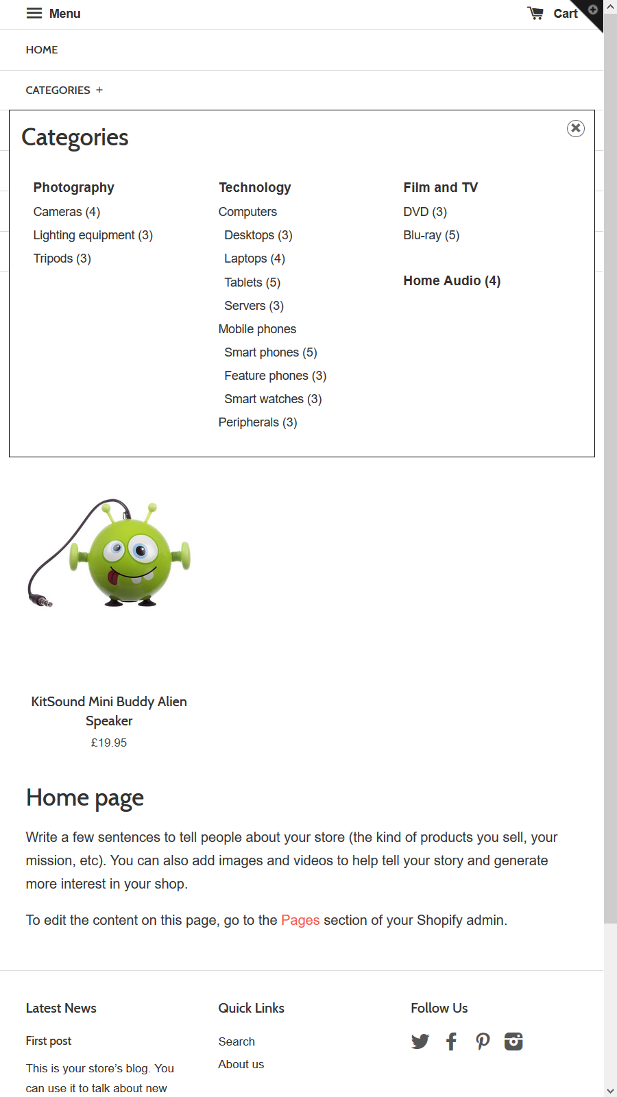 Mobile header menu with categories triggered on click