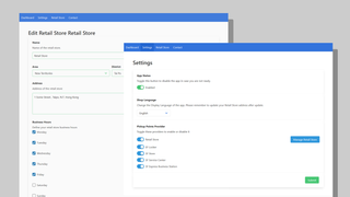 Customize settings and mange store listing from admin panel