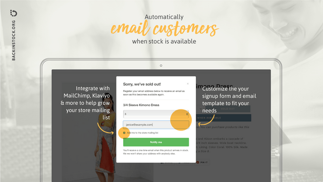Automatically email customers when stock is available
