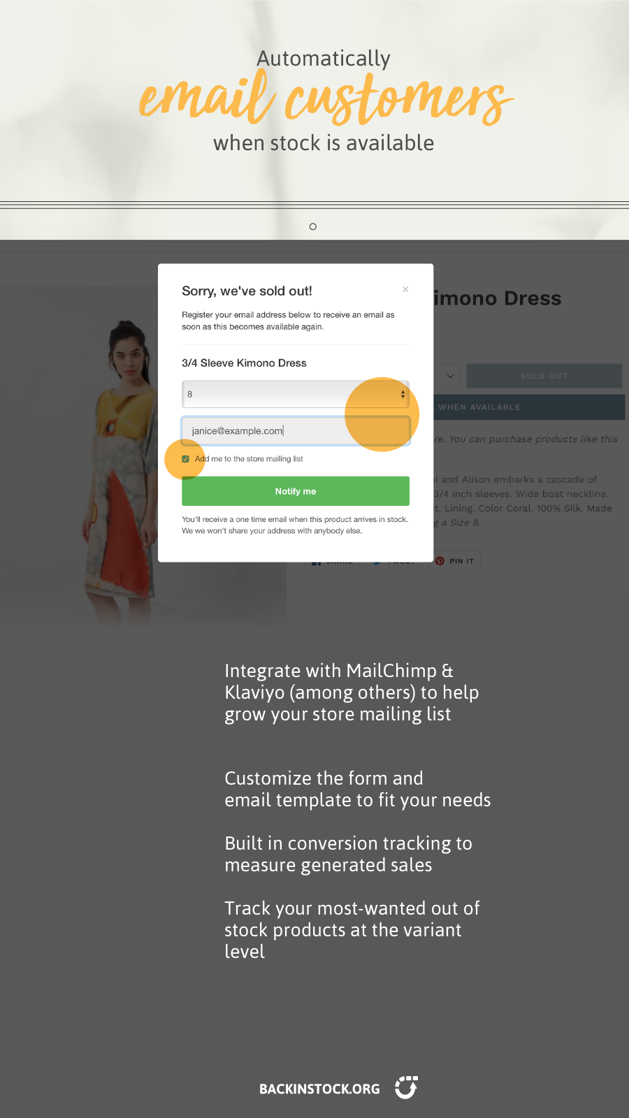 Automatically email a customer when stock is available