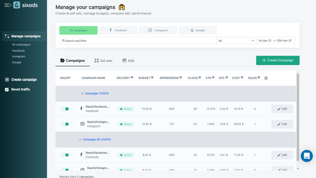 Facebook, Instagram, Google Campaigns with sixads