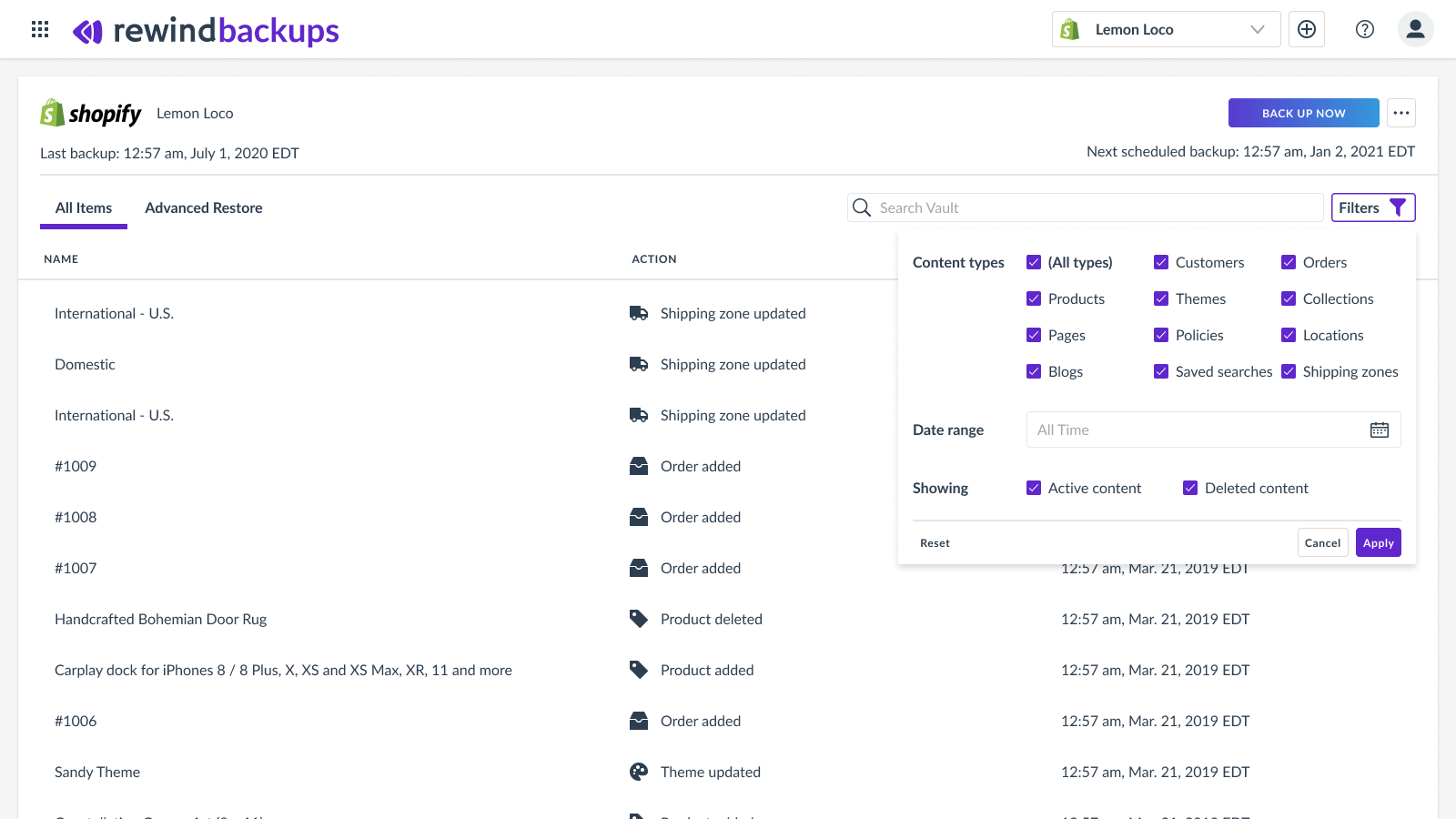 Shopify Backups - Rewind Vault Filters Orders Products