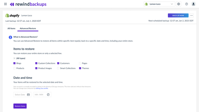 Shopify Backup - Account Rewind