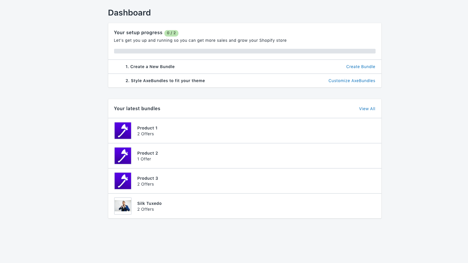 The dashboard allows you to see an overview of your bundles.