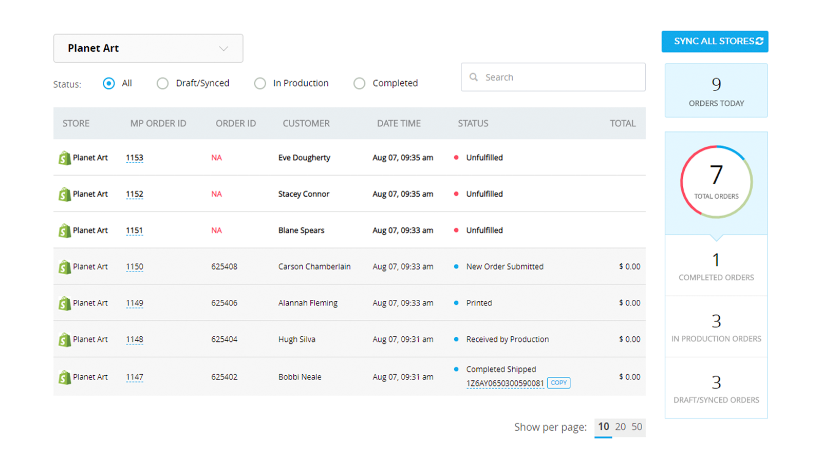 Orders Management Page
