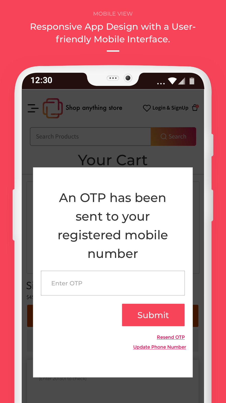 mobile view - otp on cart