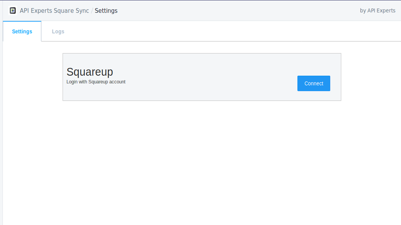 Settings page - Square not connected yet