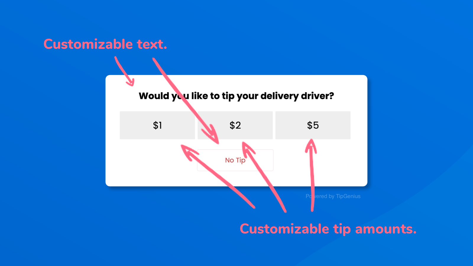 Customize the text, currency and tipping amounts
