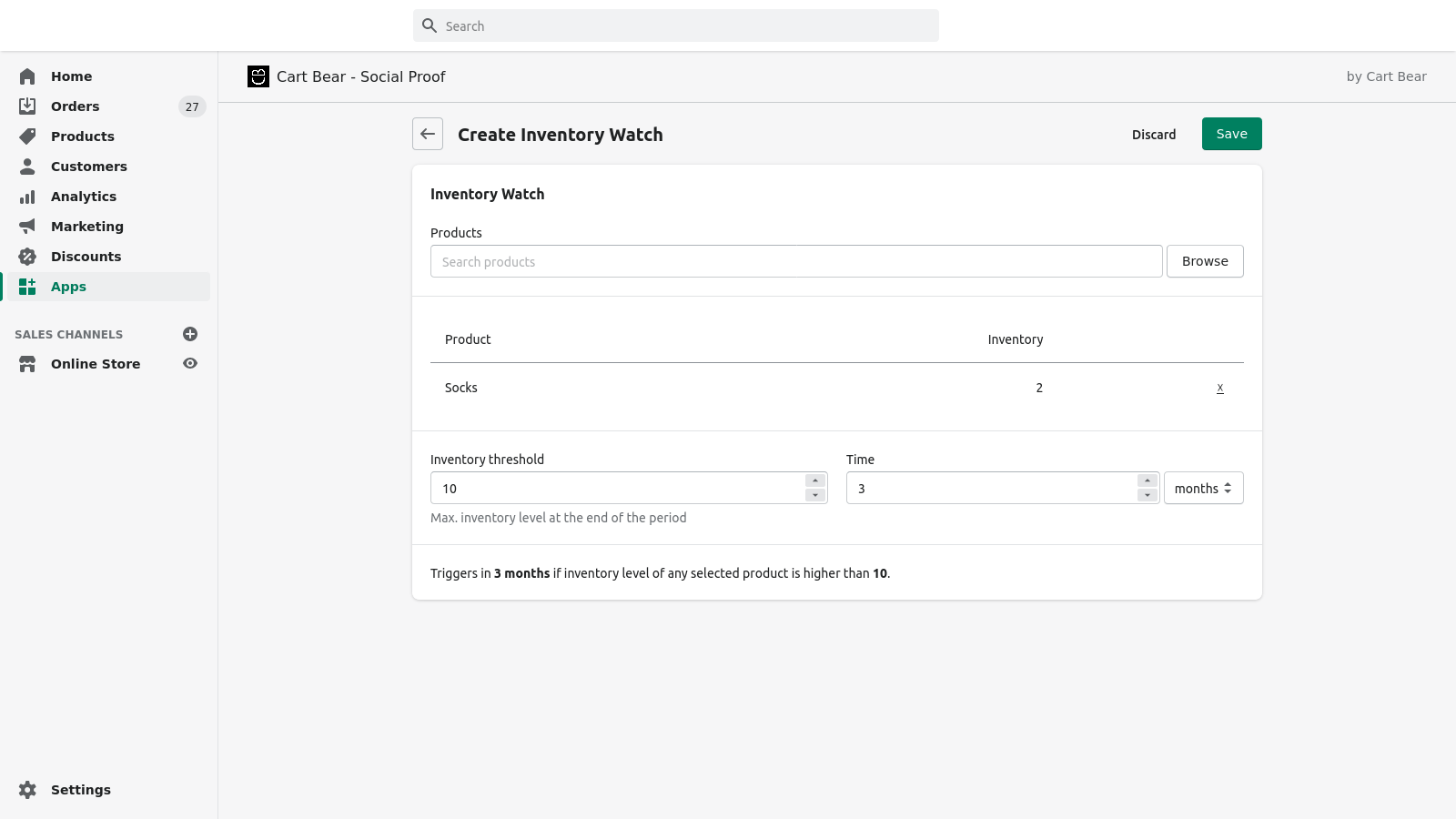 Shopify Admin - Create Inventory Watch