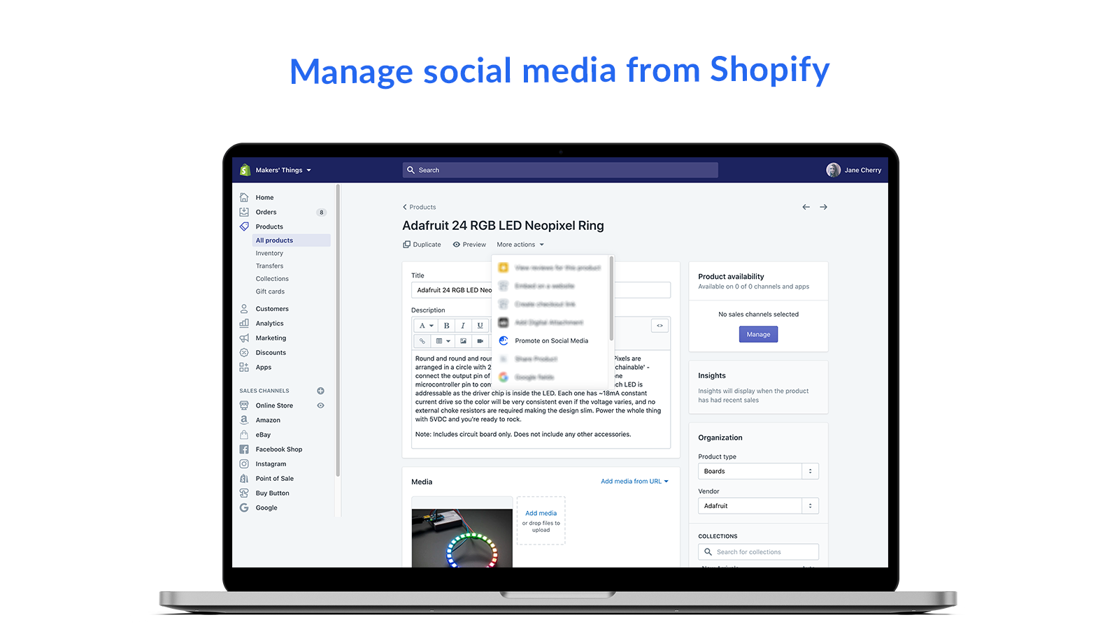 Manage social media from Shopify - Comity