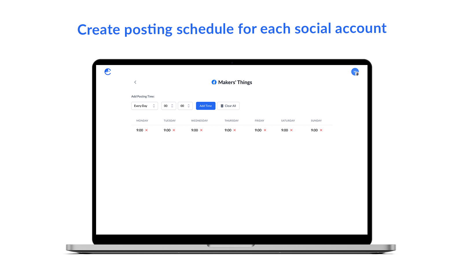 Create posting schedule for each social account - Comity