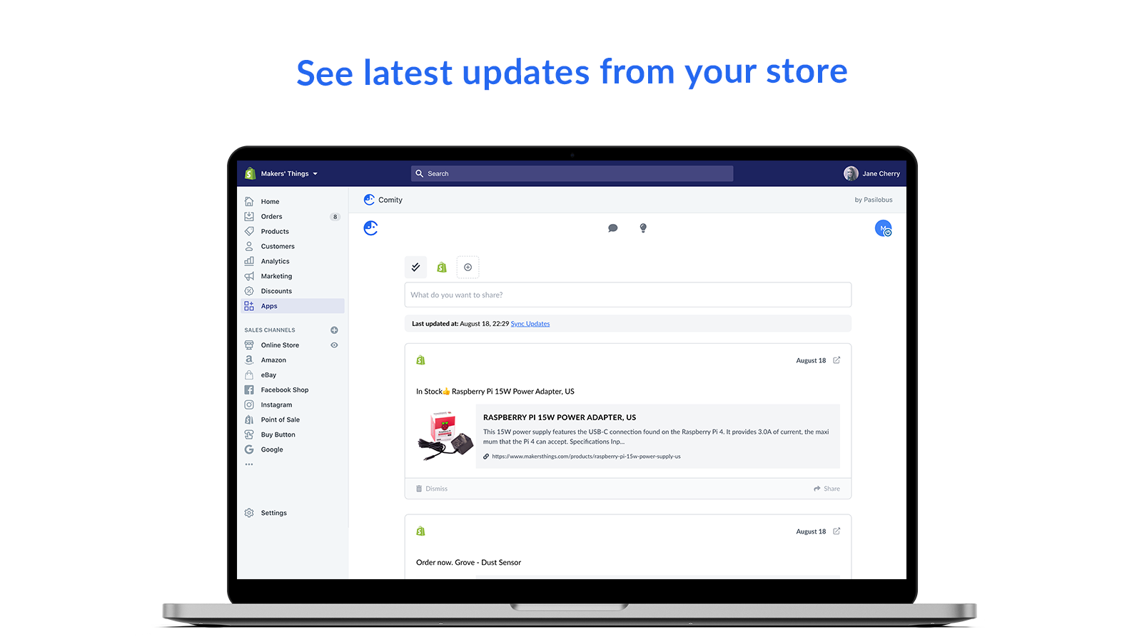 See latest updates from your store - Comity
