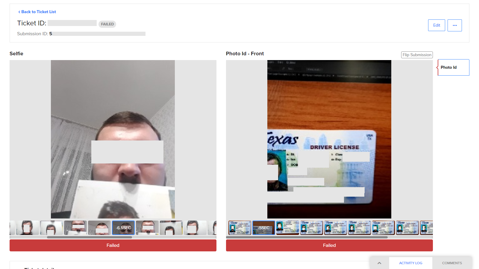 REAL - Bad actor blocked w/ printed photo & forged digital ID